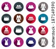 Dresses and skirts vector icon set. - stock vector