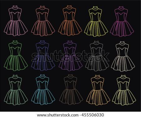 dresses contour - stock vector