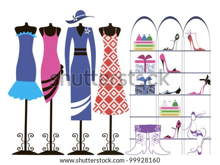 Dresses hung on mannequins, shoes stand on a shelf in a large female cabinet - stock vector