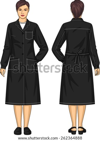 Dressing gown for the woman with pockets and a belt - stock vector