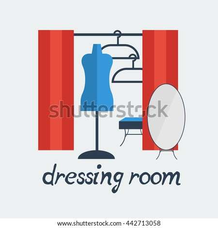 dressing room Studio background interior colorful design with furniture: fitting, hanger, mannequin, ottoman, mirror. Vector flat style illustration. - stock vector