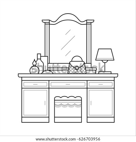 Dressing table thin line table mirror stock vector for Thin dressing table