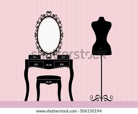 dressing table mannequin - stock vector