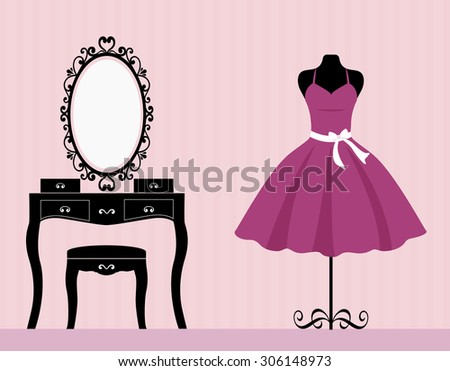 dressing table mannequin and dress