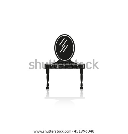 Dressing table with mirror.  - stock vector