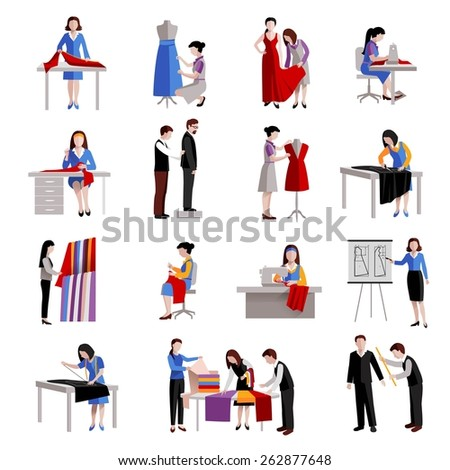 Dressmaker icons set with fashion workers and designer tailoring measuring and sewing isolated vector illustration