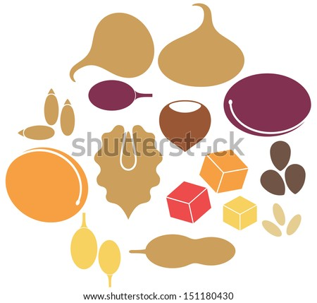 Dried fruit. Isolated icons on white background