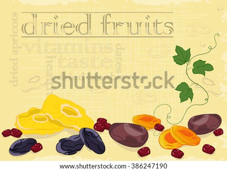 Dried fruits background - stock vector