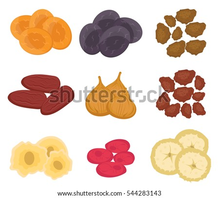 Dried fruits set, flat style. Raisins, dried apricots, prunes isolated on a white background. Vector illustration, clip art