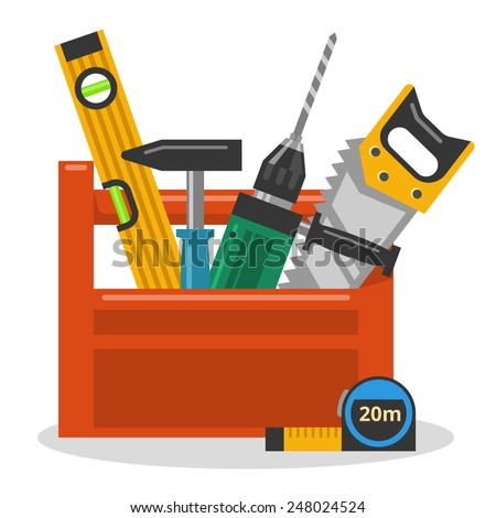 tool box clipart. drill hammer saw and level in the tool box vector illustration clipart