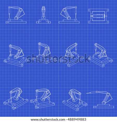 Drilling machine 3 d vector robot set stock photo photo vector drilling machine 3d vector robot set technology blueprint malvernweather Images