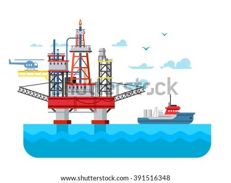 Drilling rig at sea - stock vector