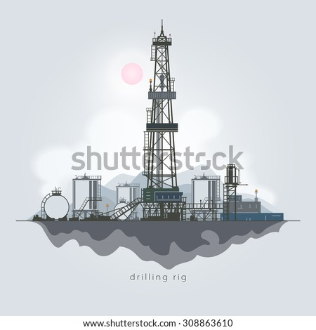 Drilling Rig in the Background of Mountains, Oil Rig, Oil Well Drilling, Oil or Natural Gas Drilling Rigs with Outbuildings and Tanks and Cisterns ,  Vector Illustration - stock vector