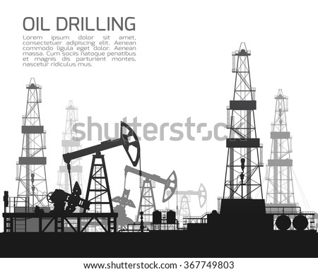 Drilling rigs and oil pumps isolated on white background. Detail vector illustration.