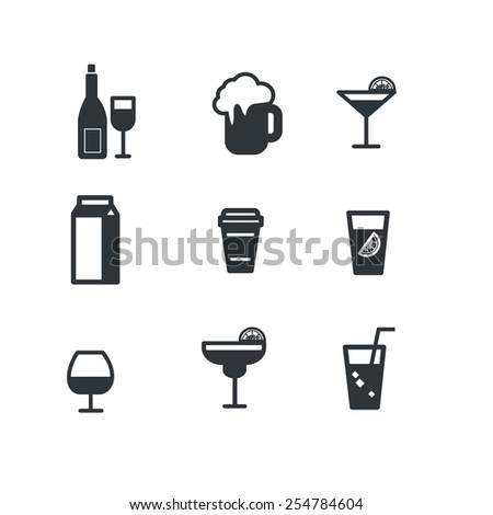 Drink alcohol beverage icons - stock vector