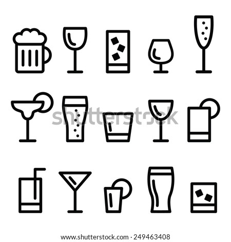 Drink alcohol beverage vector line icons set  - stock vector