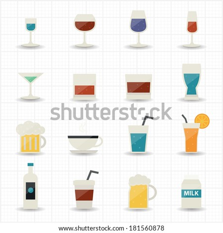 Drink and cocktail icons - stock vector