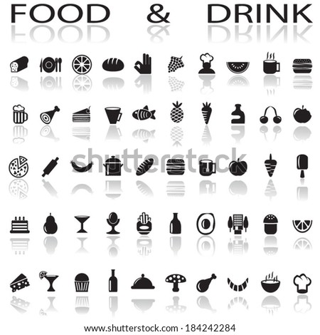 drink and food - stock vector