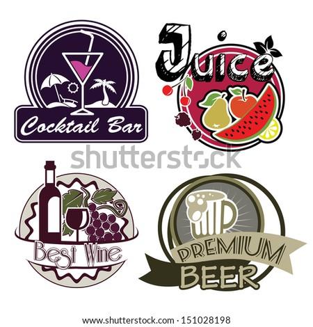 Drink Bar Menu Stickers - stock vector