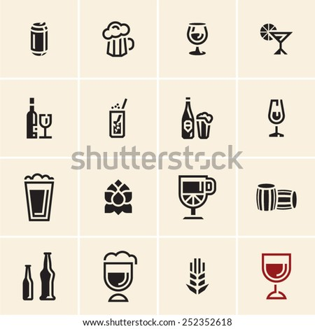 Drink beverage icons set. Vector black beer and wine icons set. - stock vector