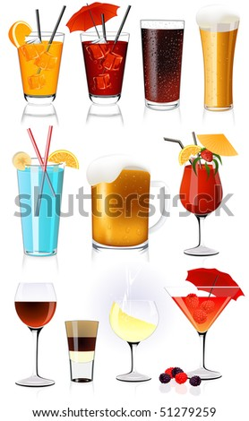 Drink collection, vector illustration - stock vector
