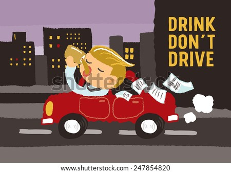 Drink do not drive - freehand drawing vector Illustration - stock vector