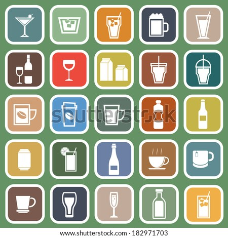 Drink flat icons on green background, stock vector