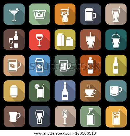 Drink flat icons with long shadow, stock vector
