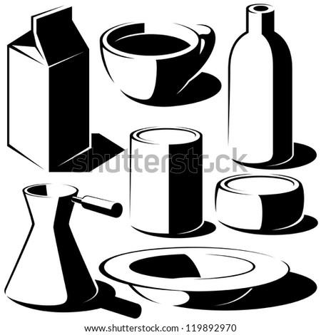 drink food dish set - stock vector