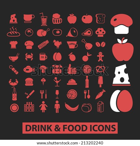 drink, food, fruit, vegetables isolated icons, signs, symbols, illustrations, silhouettes, vectors set - stock vector
