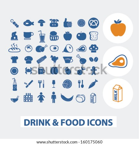 drink & food icons set, vector - stock vector