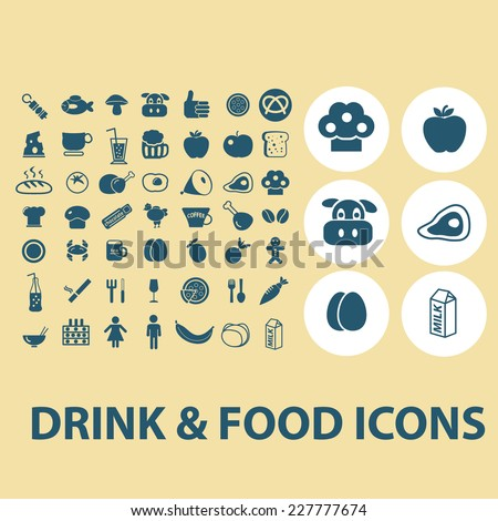 drink, food, restaurant, grocery icons, signs, illustrations set, vector - stock vector
