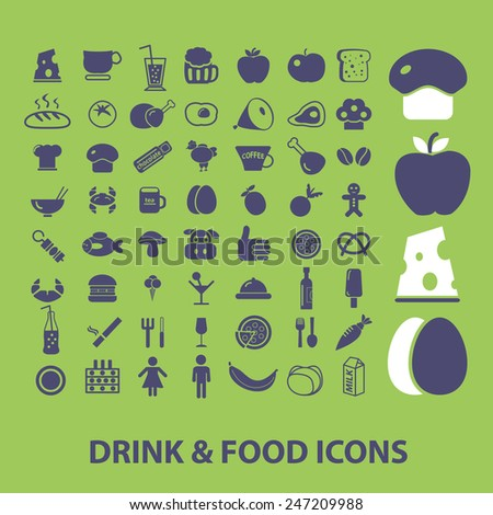 drink, food, vegetables, meat, cafe, restaurant, apple, eggs, cheese, bakery icons, signs, illustrations set, vector - stock vector
