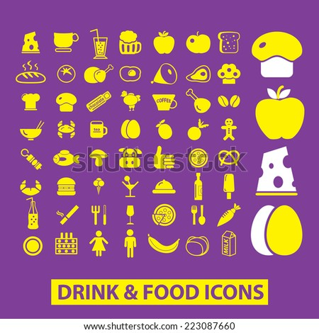 drink, food, vegetables, milk, fruits, bread isolated icons, signs, illustrations, silhouettes set, vector on background for web and mobile  - stock vector