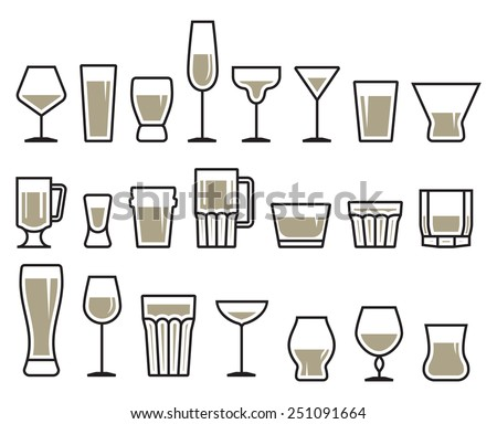 Drink glass icon set - stock vector