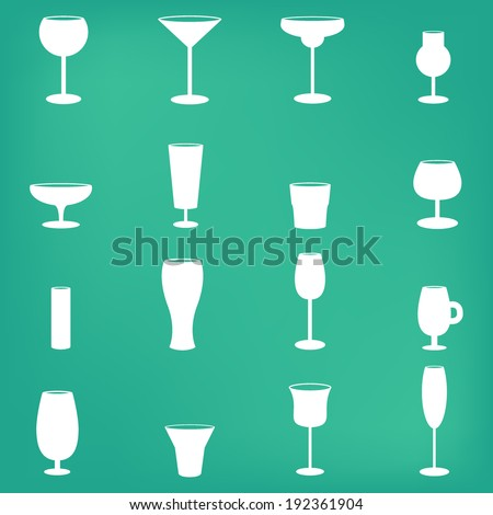 Drink glass icons - stock vector