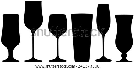 Drink glasses - black silhouettes - stock vector