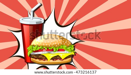 drink, hamburger, pop art