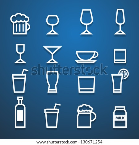 drink icons blue background