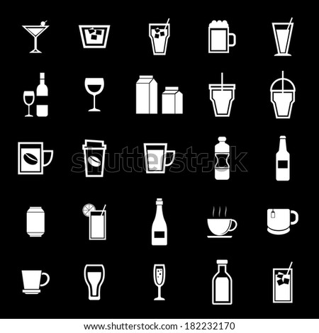 Drink icons on black background, stock vector