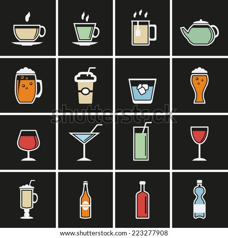 Drink Icons. Vector for web