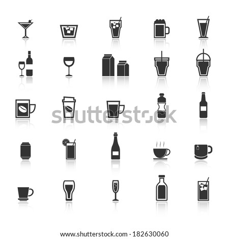 Drink icons with reflect on white background, stock vector - stock vector