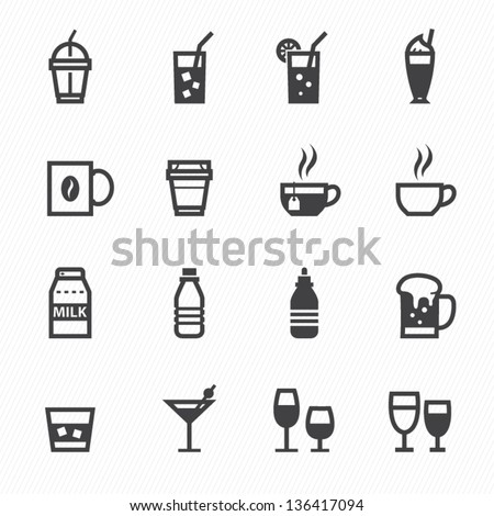 Drink icons with White Background - stock vector