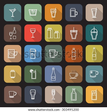 Drink line flat icons with long shadow, stock vector