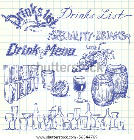 drink list - stock vector