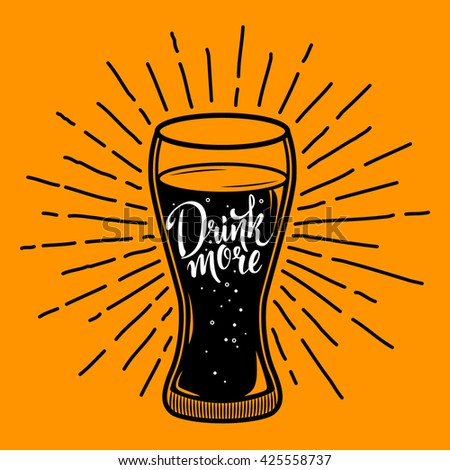 Drink more. Retro vector illustration with glass of beverage with lettering and sunburst. Can be used for restaurant menu.  EPS 10
