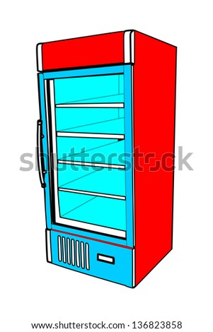 Drink refrigerator vector isolated on white background. Vertical empty red fridge vector.