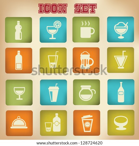 Drink sign,cups icon set,vintage style,vector - stock vector