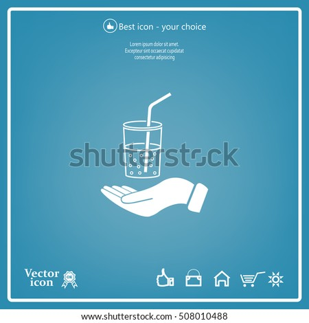 Drink sign. Save or protect symbol by hands.