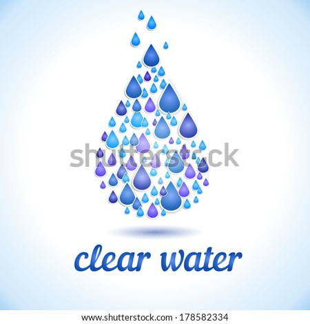 Drinking and Water Label vector. - stock vector